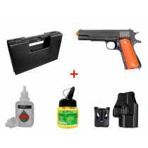 KIT Pistola de Airsoft Spring G13+ Colt 1911 Galaxy Full Metal C/Coldre 6mm + Maleta+ BBS 12 GR 1000 Unidades + Silicone