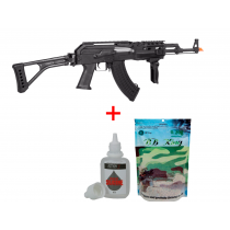 KIT Rifle de Airsoft AK47 Tactical FULL METAL CYMA CM039U + BBKING 0,20 Gramas + Silicone